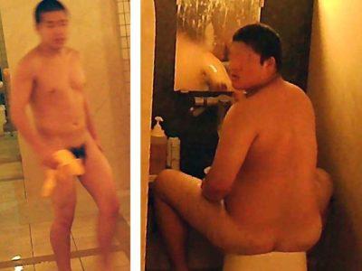 風呂場で剣道部員と柔道部員を発見!体育会系の全裸姿を盗撮!