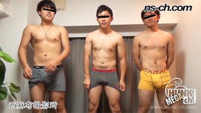 3人の体育会系男子学生!どの子もいい感じ!みんなでオナニー!フェラ体験!