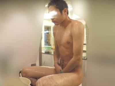 【新作】フツメンノンケが銭湯で身体を洗うシーン、ズロンとしたチンポ!